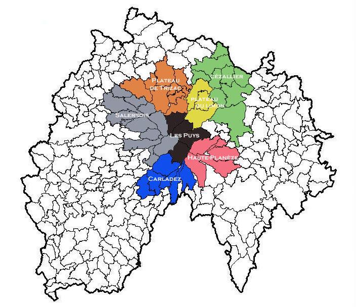 Communes et zones d'estive du Cantal